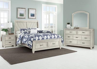 Rustic Cottage White Sleigh Storage Queen Bed,Vaughan-Bassett