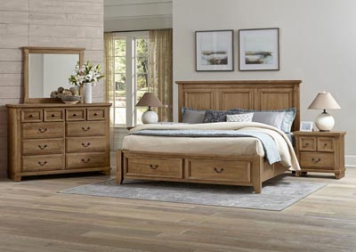 Timber Creek Natural Maple Queen Storage Bed w/Mansion Headboard,Vaughan-Bassett