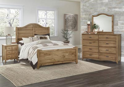 American Natural Maple Queen Panel Bed w/Shiplap Headboard,Vaughan-Bassett