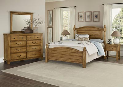 American Honey Oak King Poster Bed,Vaughan-Bassett