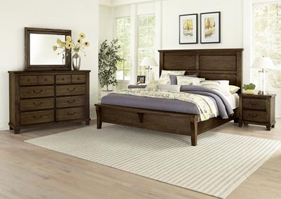 American Molasses Oak Queen Panel Bed w/Bench Footboard,Vaughan-Bassett