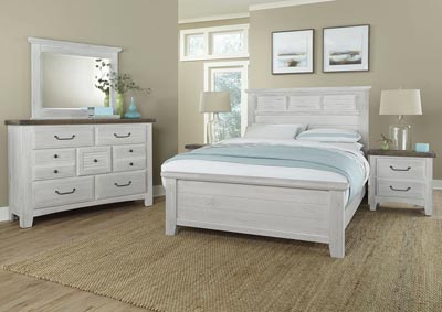 Image for Sawmill Alabaster White Arched Queen Bed w/Dresser and Mirror