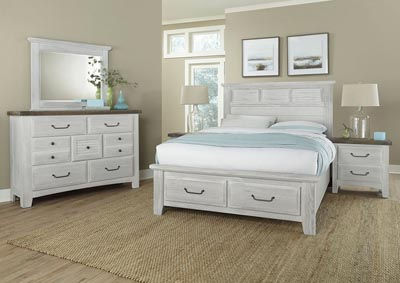 Image for Sawmill Alabaster White Louver Queen Bed w/Dresser and Mirror