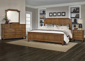 Image for Arrendelle Antique Cherry Queen Panel Bed w/ Dresser and Mirror