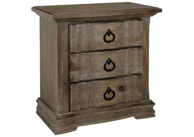 682 - Rustic Hills Grey Night Stand - 3 Drawer,Vaughan-Bassett