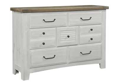 694 - Sawmill Alabaster Two Tone Dresser - 7 Drawer