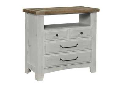 Image for 694 - Sawmill Alabaster Two Tone Media Chest - 4 Drawer