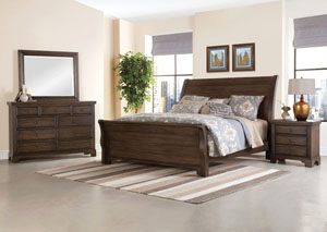Image for Whiskey Barrel Dark Roast Queen Sleigh Bed w/Dresser and Mirror