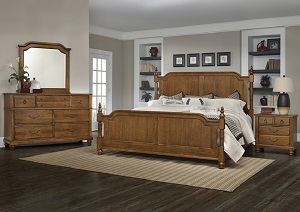 Image for Arrendelle Antique Cherry Queen Poster Bed w/ Dresser and Mirror