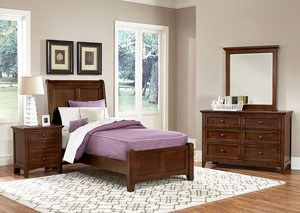 Bonanza Cherry Twin Sleigh Bed w/Dresser and Mirror,Vaughan-Bassett