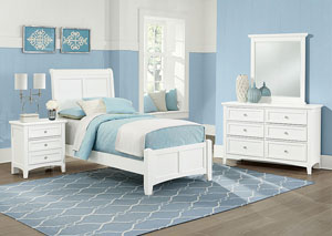 Image for Bonanza White Twin Sleigh Bed w/Dresser and Mirror