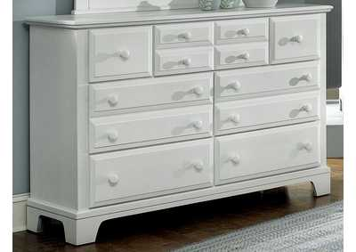 BB6 - Barnburner 6 Snow White Triple Dresser - 7 Drawer,Vaughan-Bassett