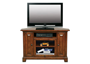 "Image for Zahara - Medium Oak 47"" Corner Media Base"